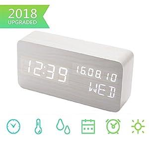 Digital Wecker, Schreibtisch Uhr Holz Digital Uhren Mit 3 Alarme 3  Helligkeit Stimme Steuerung LED