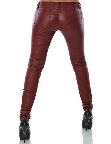 Damen Hose Kunstlederhose Skinny Röhre (weitere Farben) No 14258 Bordeaux