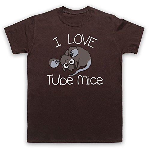 I Love Tube Mice Hipster Slogan Herren T-Shirt Braun