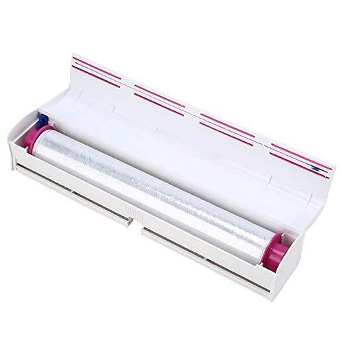 Amaoma Folienschneider Cutter, Folienspender für Frischhaltefolie Spenderbox, Folien Abroller Alufolie Frischhaltefolie Box, Küche Zubehör –Einfach zu Benutzen, Schneiden und Wickeln (Weiß)