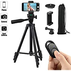 Hitchy Trepied Smartphone, Trepied Iphone 42 inch 106cm Aluminium Léger, Trepied Appareil Photo pour iphone/GoPro/Camera avec Télécommande Bluetooth, Porte-téléphone et Adaptateur GoPro (Noir)