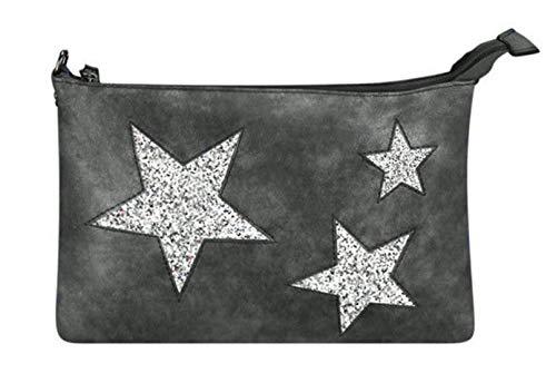 Metallic Pu-geldbeutel-handtasche (Treend24 Elegant Damen Cluth mit Stern Glitzer Umhängetasche Leder Optik Reißverschluss Leicht und Flach Metallic look verschiedene Farben Perfekte Größe (Braun) (Schwarz))