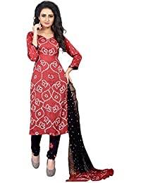 Taboody Empire Different Maroon Satin Cotton Handi Crafts Bandhani Work With Straight Salwar Suit For Girls And...