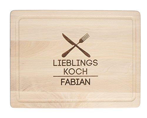 elasto Schneidebrett mit Gravur und Saftrille Holzbrett Personalisiert Frühstücksbrett mit Name aus Massivem Buchenholz 40 x 30 x 1,5 cm (Motiv 5 - Lieblingskoch)