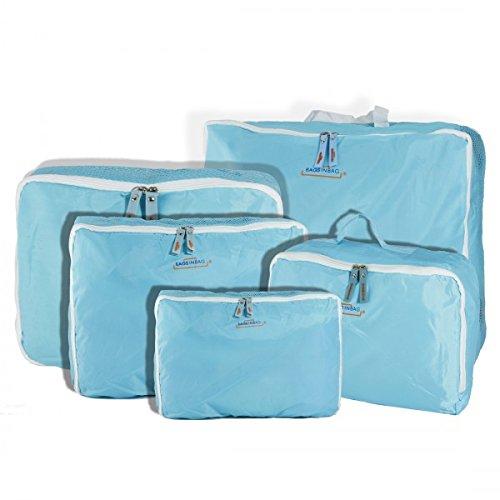 Organizzatori per trolley set da 5 pezzi travel organizer da viaggio borse valigia. MWS (CELESTE)