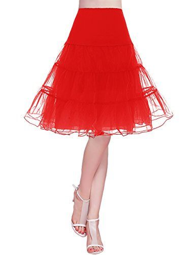 (bridesmay Damen 50s Vintage Petticoat Unterrock Underskirt Crinoline Rockabilly Kleid Red L)