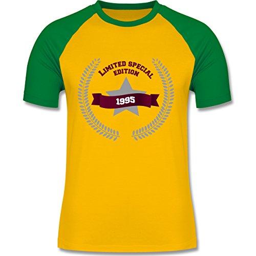 Geburtstag - 1995 Limited Edition - zweifarbiges Baseballshirt für Männer Gelb/Grün