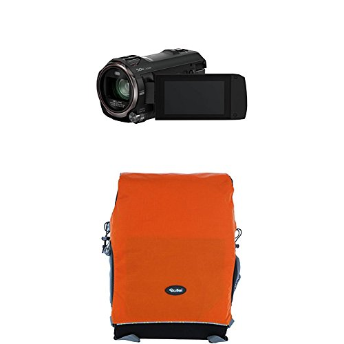 Panasonic HC-V777EG-K Full HD Camcorder ( Full HD Video, 20x opt. Zoom, opt. Bildstabilisator, WiFi, Wireless Twin Camera) schwarz+Rollei Traveler Fotorucksack Canyon M Orange