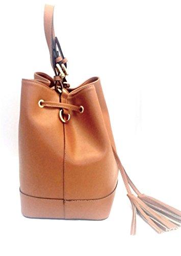 Pelle in shopper Made bucket ANDREA Italy Vera regolabile secchiello in mano Donna taupe bag spalla tracolla con ROSE Borsa DEEP q708XX