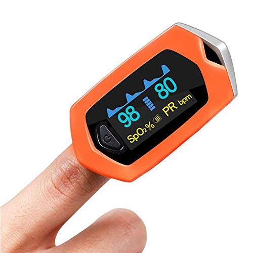 CHENG Pulsoximeter Finger Orange Blutsauerstoffsättigung Monitor OLED-Display Auto-Off,Orange