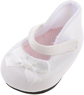 1 Par Zapatos Blanco Decoración para Muñecas Niñas Americanas Moda