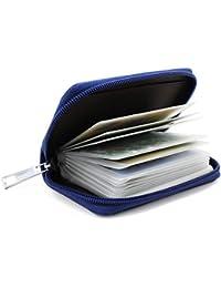 KEESIN Estuche de Tarjeta de crédito de Cuero para Mmujer ID Tarjeta de Visita con Cremallera Cartera 26 Ranuras para Tarjetas Unisex