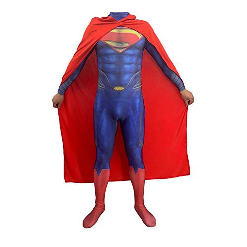 Gürtel Superman Kostüm - YXIAOL Superman Iron Man Superheld Kostüm, Justice League Cosplay Kostüm, Halloween Party Kostüm, Maskerade Kostüm, Erwachsener/Kind,Adult-XXL