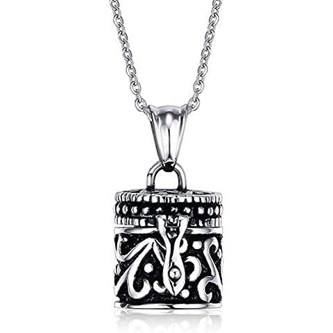 Vnox Cilindro de acero inoxidable collar colgante de la urna para recuerdos Las mujeres de los hombres recuerdan las cenizas de la