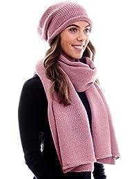 Winter Kombi Set aus Winter Schal und passender Strickmütze / Beanie mit Pompon / versch. Designs