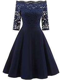 e5749bc4f3c OVERDOSE Damen Vintage 1950er Off Schulter Cocktailkleid Retro Spitzen  Schwingen Pinup Rockabilly Kleid Abend Party Kleider