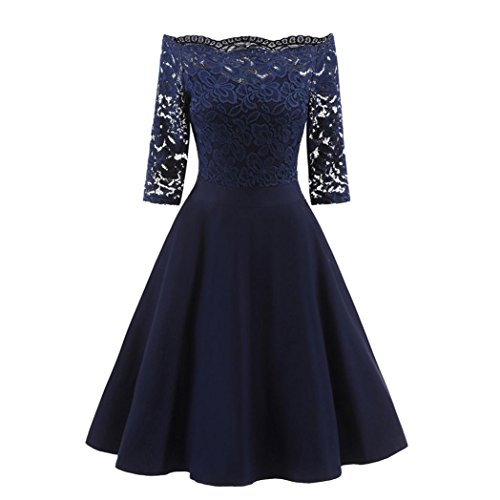 1950er Jahren Fancy Dress Kostüm - OVERDOSE Damen Vintage 1950er Off Schulter Cocktailkleid Retro Spitzen Schwingen Pinup Rockabilly Kleid Abend Party Kleider(A-Navy,EU-42/CN-XL)