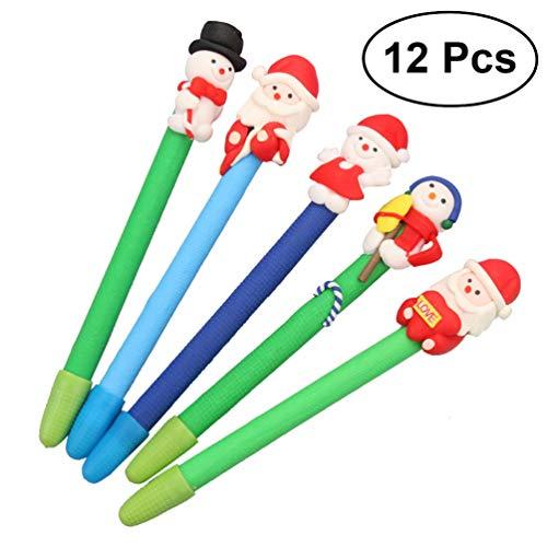 Nuovesty, 12 penne a sfera con Babbo Natale, pupazzo di neve e renne, idea regalo (stile casuale)