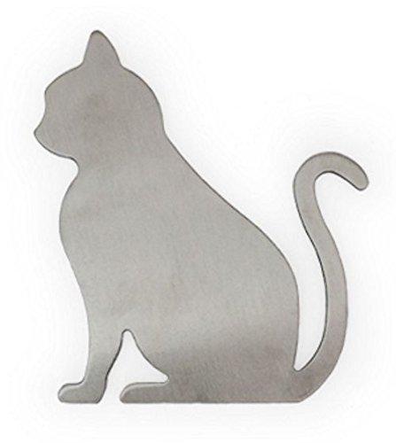 YdoG Metallsymbol Katze - gebürsteter Edelstahl - Höhe 12cm / Toilettenschild/WC-Beschilderung - rostfrei und selbstklebend