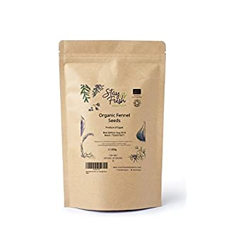 200g Organic Fennel Seeds by StayFreshOrganics - Certified By Soil Association - Resealable Pouch