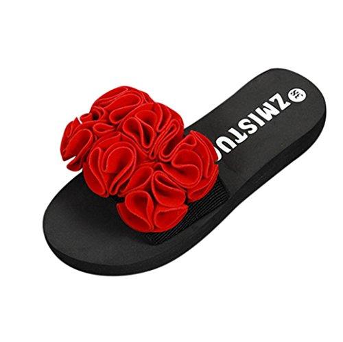 VJGOAL Damen Hausschuhe, Frauen Mädchen Frau Blume Sommer Sandalen Indoor Outdoor Flip-Flops Strand Schuhe (38 EU, Rot)