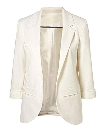 Winfon Damen Taillierter Blazer Baumwolle 3/4-Arm Business Kurzblazer Cardigan Outwear (L, Weiß)