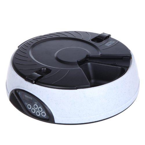 6 Pasto LCD digitale automatico Pet Feeder animale domestico Cavi Idraulico Pasto Dispenser Distributore Ciotole con registratore Bianco