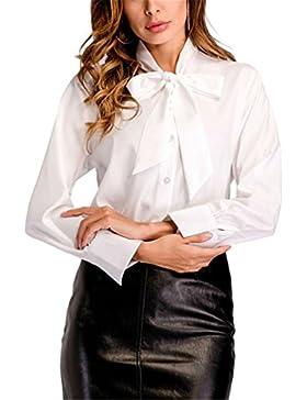Pajarita Cuello Blanco Camisa Mujer Tops Moda Primavera Damas Elegante Trabajo de Oficina Camisa de Manga Larga...