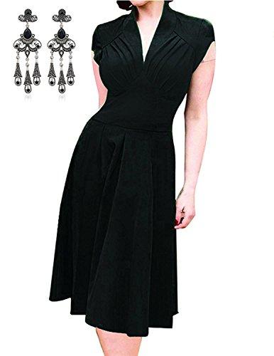 Modetrend Femmes Robe Sexy Col V Manche Courte Vintage Swing Robe de Soirée Cocktail Dress Noir