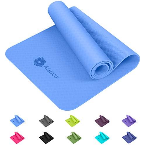 Aisoco Yogamatte,Gymnastik Matte, Yogamatte rutschfest, umweltfreundlich, Hypoallergen und hautfreundlich, ideal für…