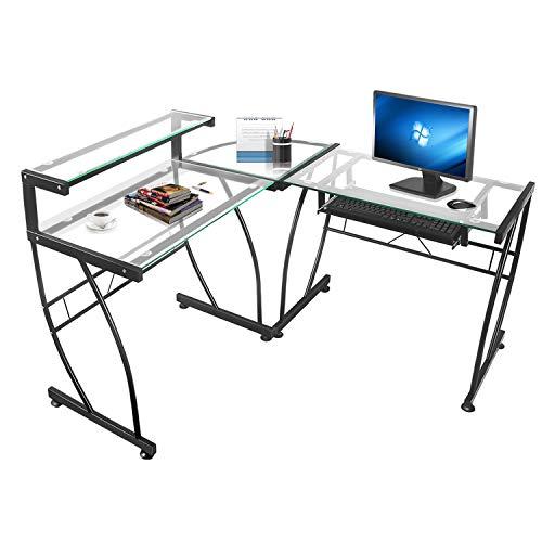 JOO LIFE Computer-Schreibtisch in L-Form Klarglas