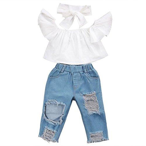 Trada 3PC Kinder Baby Mädchen Outfits Leopard Schulterfrei Tops + Loch Jeans + Stirnband Kleidung Kind Baumwolle Strampler T-Shirt + Hose Bodysuit Playsuit Set Sommer Babykleidung (80, Weiß)