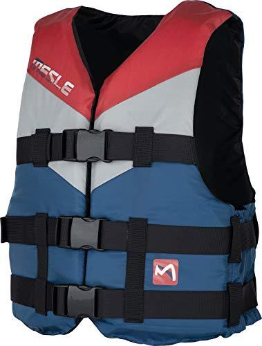 MESLE Schwimmweste V210 P, Men, XS-XL, Navy-rot-Maroon, 50-N Auftriebsweste Prallschutz Schwimmhilfe, für Erwachsene und Jugendliche, Wasserski Wakeboard Impact-Weste, Jet-Ski, Größen:XS -