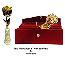 "Lavanaya Silver "" Gold Plated Rose 6 inch With free exclusive wooden stand worth rs 199/-"