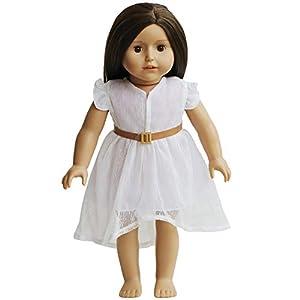 The New York Doll Collection- Vestido de Encaje Blanco y cinturón Ropa de muñecas de 45 cm (43221-4082)