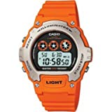 Casio Men's Quartz Watch with Grey Dial Digital Display and Orange Resin Strap W-214H-4AVEF