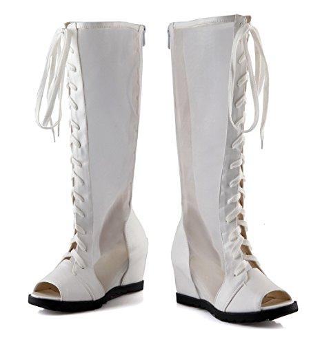 UH Sandales Bottines Femmes Bout Rond Peep Toe à Talons Moyen Compensees Confort de Lacets et Fermeture Eclair Blanc