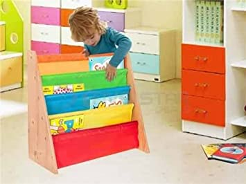 Kids Childrens Bookcase Rack Children Colourful Sling Storage Bookshelf  Nylon Fabricated To Protect Childrens High Quality