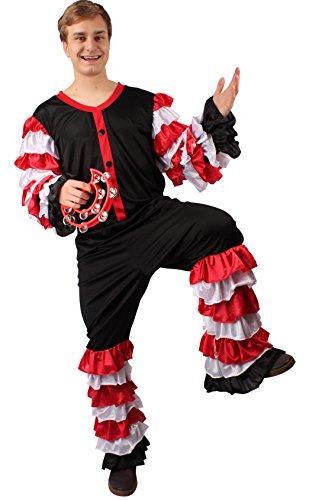 Schnee Cosplay Weiss Kostüm (Samba Kostüm schwarz-weiß-rot für Herren | Größe 54/56 | 2-teiliges Tanz Kostüm | Salsa Faschingskostüm für Männer | Tänzer Kostüm für)