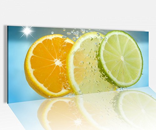 Acrylglasbild 100x40cm Citrusfrüchte Wasser Orange Zitrone Acrylbild Glasbild Acrylglas Acrylglasbilder 14A1274, Acrylglas Größe1:100cmx40cm
