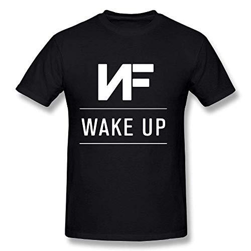 Mens Coole NF Rapper Logo Tee Shirts Tshirt Kurzarm Rundhals Baumwolle T Shirt für Herren Jugend Jungen Plus Größe Schwarz XL -