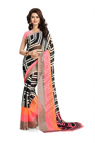 Vaamsi Women's Faux Georgette Saree With Blouse Piece(Vega3143_Multicolor_Free Size)