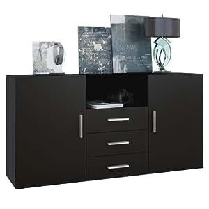 vladon buffet dressoir skadu corps en noir mat fa ades en noir mat vladon cuisine. Black Bedroom Furniture Sets. Home Design Ideas