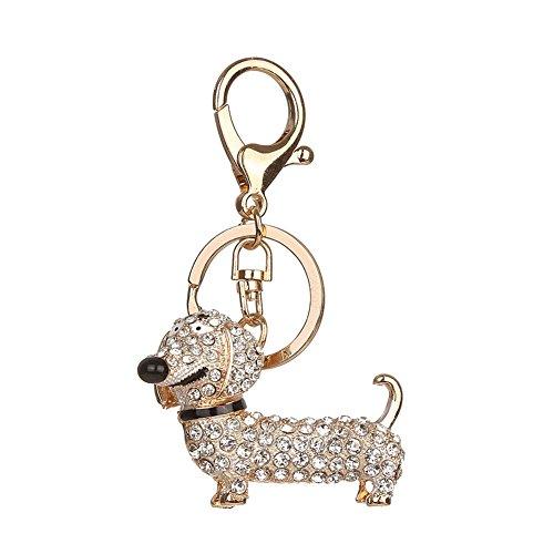 nde Strass Dackel Hund Schlüsselanhänger Tasche Auto Anhänger Dekor Schlüsselanhänger (Weiß) (Weiß-glänzenden Geschenk-taschen)