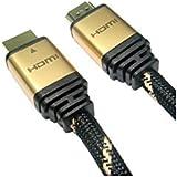 ROLINE Gold HDMI High Speed Kabel mit Ethernet | 4K Ultra HD | 2m | Audio Return Channel (ARC) | M/M | Nylon-Geflecht schwarz / gold - gut und günstig