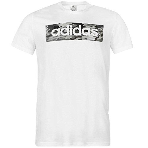 adidas Herren T Shirt Mens T Shirt Camo Linear Tee Mens Short Sleeve Top White S-XXL New CD7066 (L)