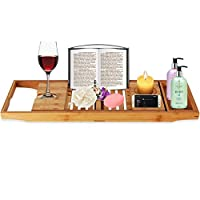 Bath Tray Bamboo Bathtub Caddy with Extending Sides, Mug Wineglass Smartphone Holder, Metal Frame Book Pad Tablet Holder, Detachable Sliding Tray, Non-Slip
