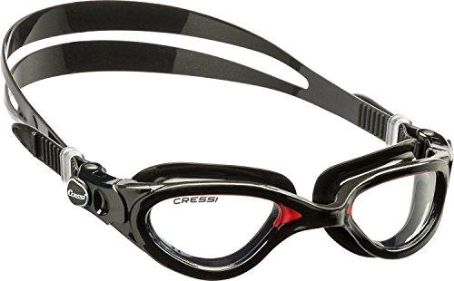 Cressi Flash - Premium Erwachsene Schwimmbrille Antibeschlag und 100% UV Schutz, Schwarz/Rot - Transparent Linsen, One Size