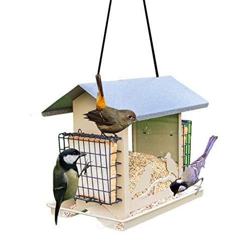 LULUDP-Mangiatoia uccelli Happy Jade Bird appeso alimentatore di uccelli olio nero girasole seme alimentatore tubo alimentatore di uccelli per il giardino appeso alimentatore in metallo piccolo e medi