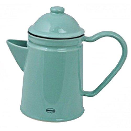 Kaffeekanne Kaffeekrug Teekanne Keramik Emaille- Look Arctic Blue blau Vintage